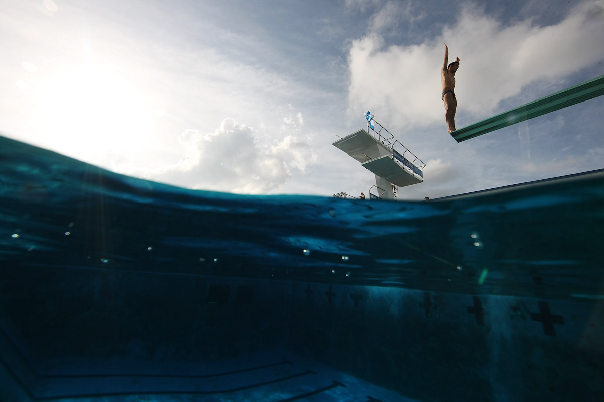 Nick Mcory of the USA dives during a training session at the Fort Lauderdale Aquatic Center during Day 1 of the AT&T USA Diving Grand Prix on May 7, 2009 in Fort Lauderdale, Florida