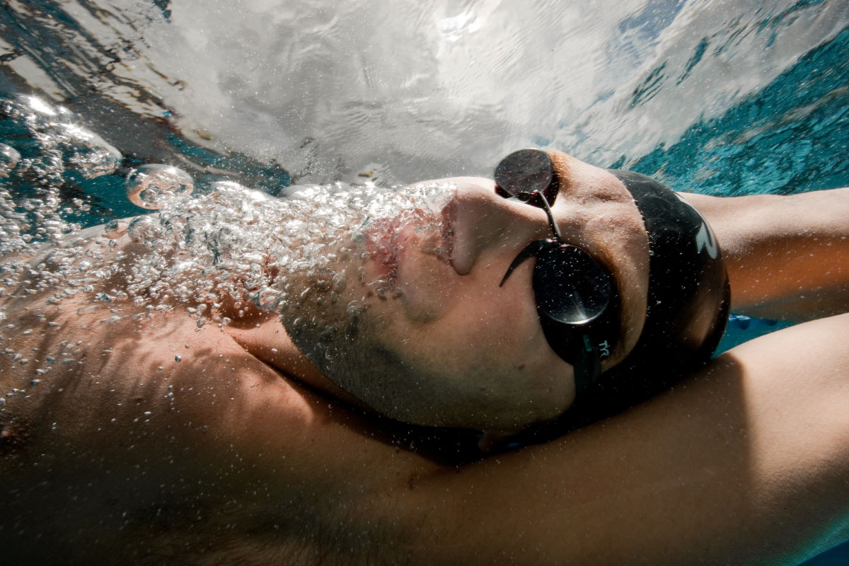 USA Olympian Matt Grevers swims at the Bolles Swim Club on April 12, 2010 in Jacksonville, Florida