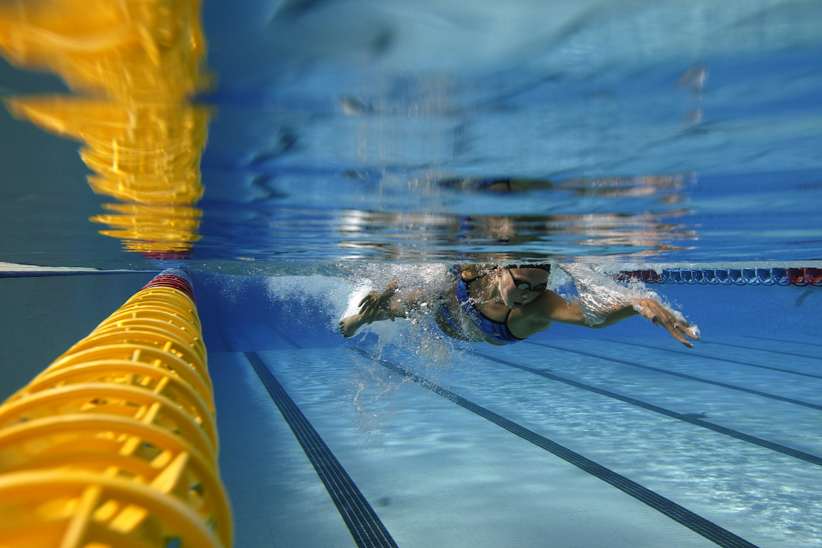 USA Olympic Gold Medalist Natalie Coughlin of USA trains before the FINA  World Swimming Championships July 15, 2003 in Narbonne, France.