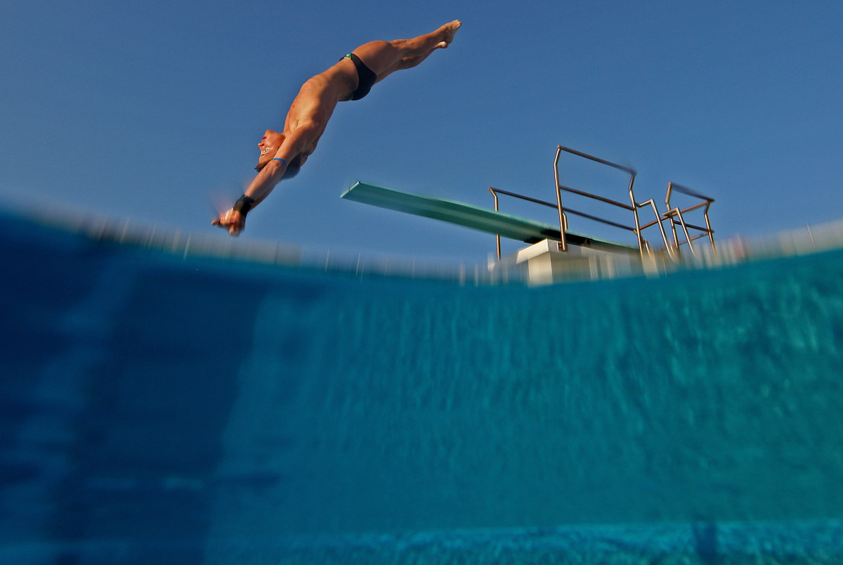 Toby Stanley of the USA dives during training at the Fort Lauderdale Aquatic Center on Day 1 of the AT&T USA Diving Grand Prix on May 10, 2012 in Fort Lauderdale, Florida.