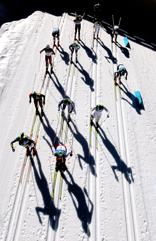 Skiers at the start of the Ladies' 15 km Pursuit race on day 8 of the 2010 Vancouver Winter Olympics at Whistler Olympic Park Cross-Country Stadium on February 19, 2010 in Whistler, Canada.