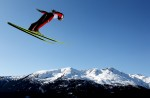 Daiki Ito of Japan soars on the Large Hill on day 9 of the 2010 Vancouver Winter Olympics at Ski Jumping Stadium on February 20, 2010 in Whistler, Canada.