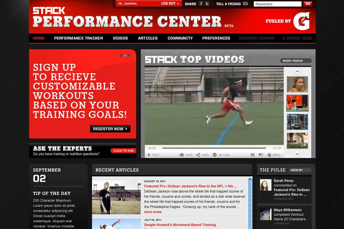 The Ultimate Destination for Performance Athletes and Coaches. Fuled by Gatorade. Redesign of entire site UI, including calendar pages, workouts, CMS, blogs, articles, and preferences.