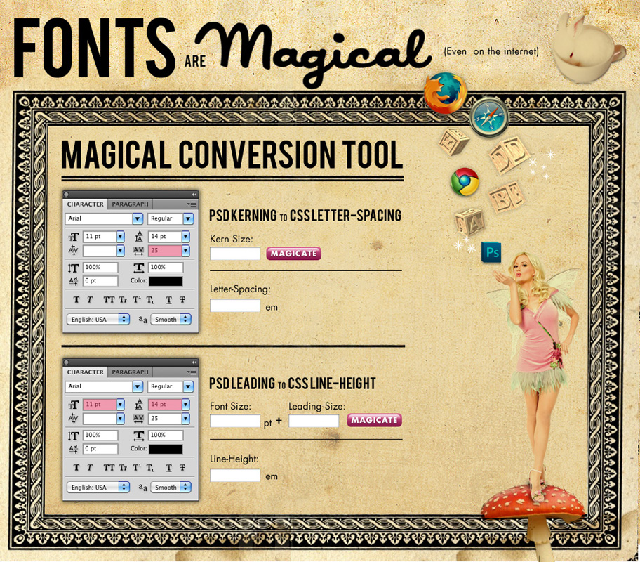 A fun conversion tool for using fonts on the web.