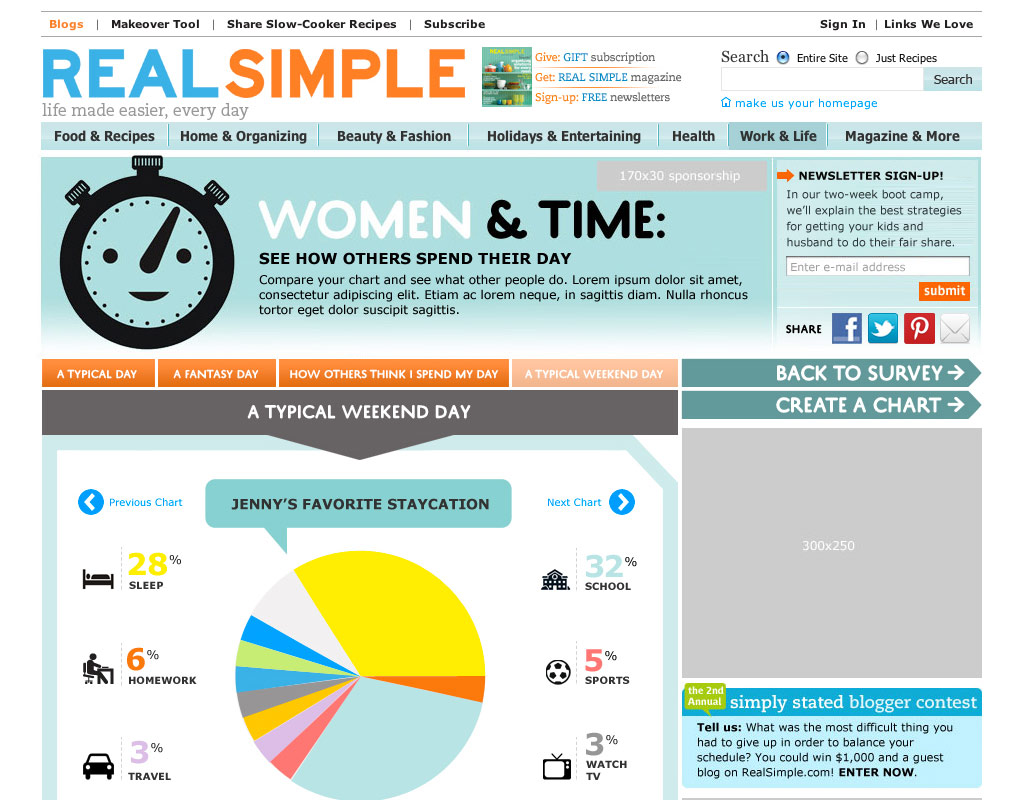 Designed a tool to discover how you spend your time from Real Simple.