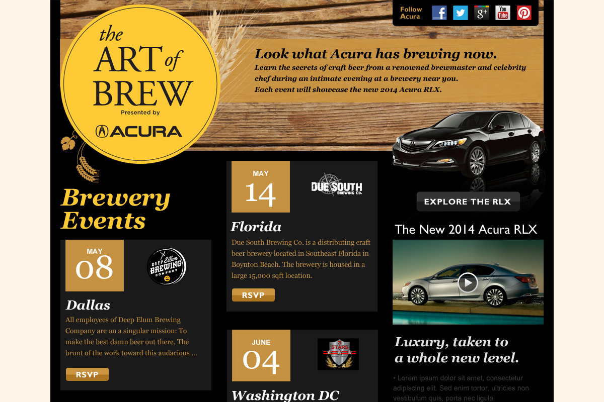 Site design for Acura and American Express Publishing