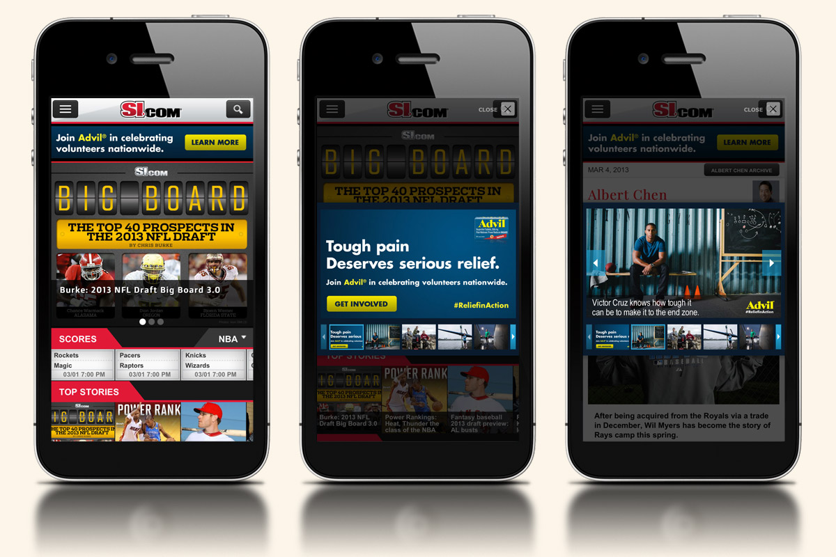 Mobile ad units for Advil and Time Inc