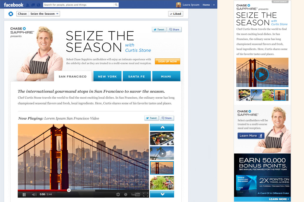 Seize the Season Facebook page for Chase Sapphire and Time Inc