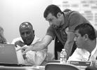 (L to R) Muller Ghebreselassie, Adam Matheny and Juan Alvarado during Hurricane Dakota JCP&L Annual Exercise Operations.