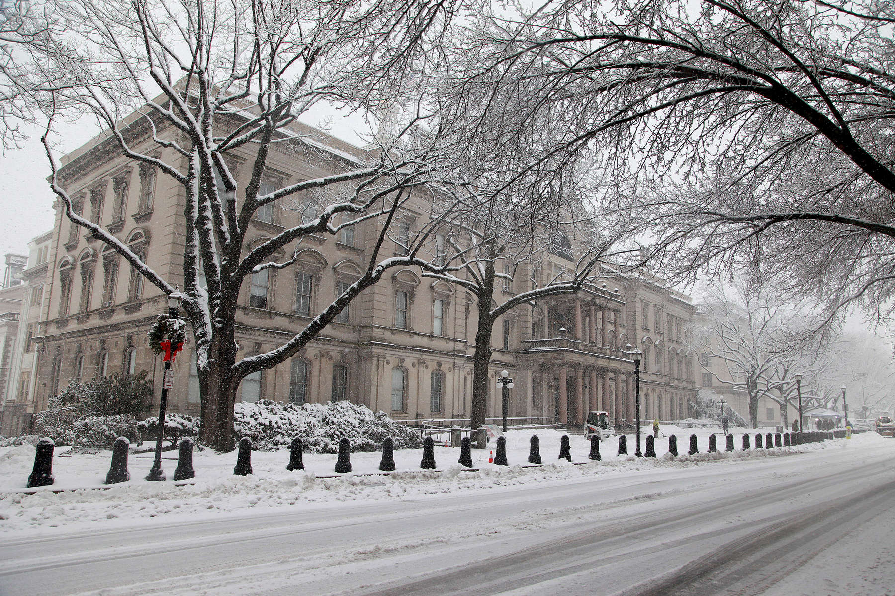 Heavy Snow falls on the State House in Trenton, New Jersey on Monday morning as documents pertaining to government subpoenas involving the {quote}Bridgegate{quote} Scandal were due to be submitted lawmakers investigating the lane closures on the George Washington Bridge were due by the end of the day.