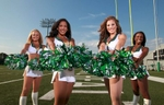 The New York Jet's Flight Crew (L to R) Katie H., Brie S., Kelly M. and Kristina L.  at the Jets Florham Park Practice Facility.