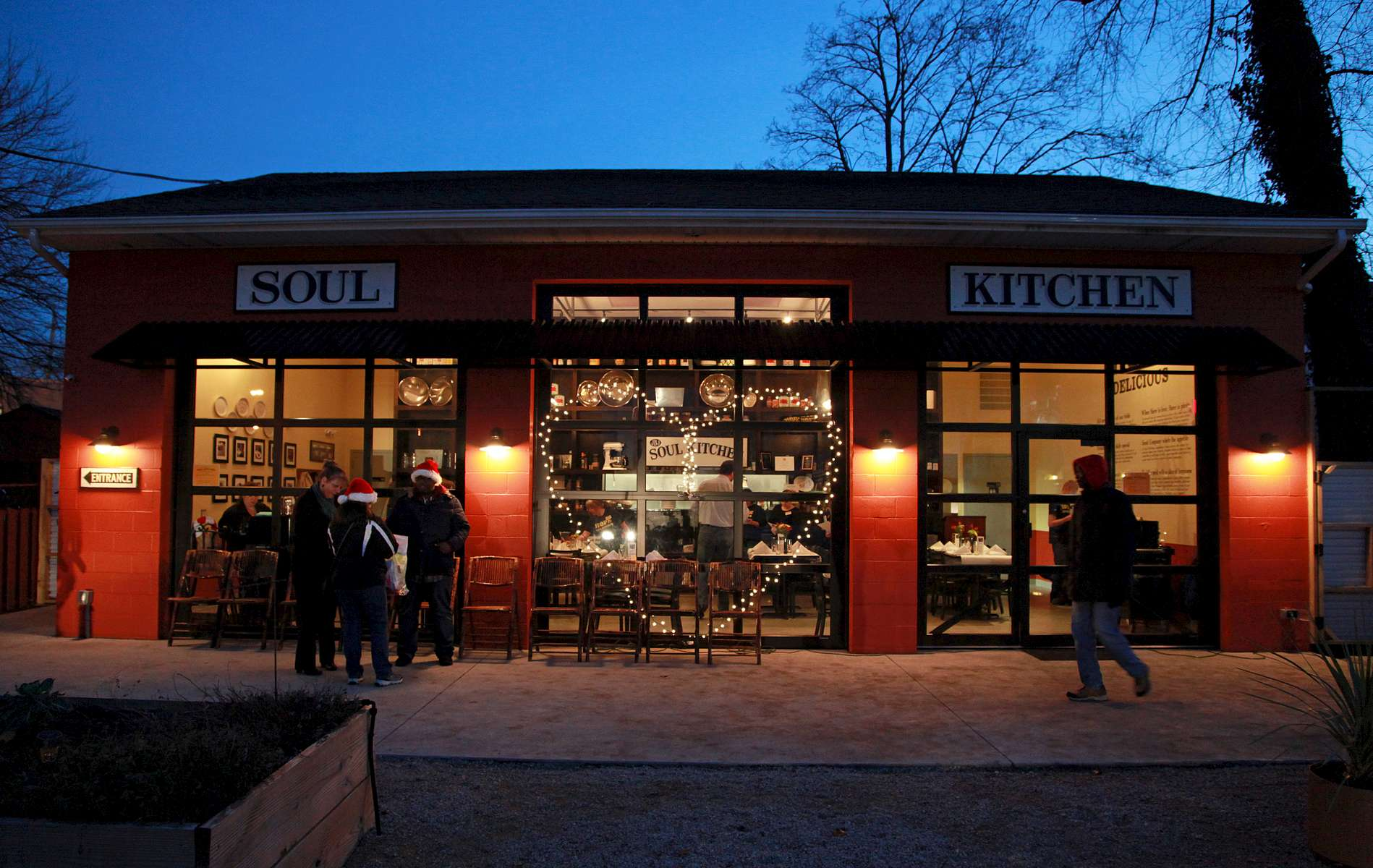 Lights shaped as a heart on the front of Jon Bon Jovi's Soul Kitchen on Monmouth Street in Red Bank.