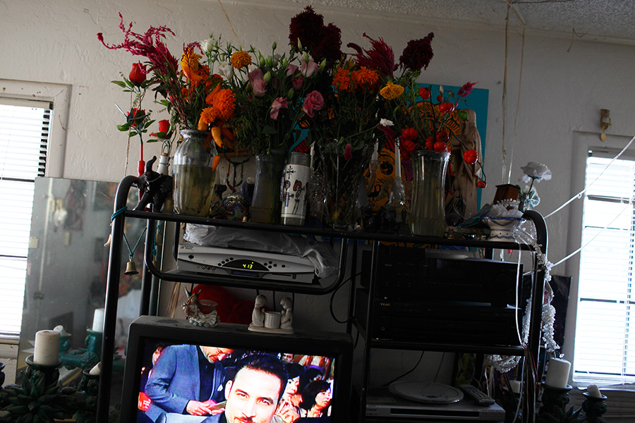 Flowers are placed on top of the entertainment set in the living room area of Claudia's residence.