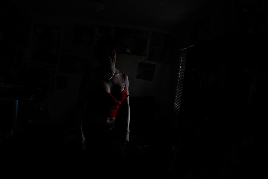 Claudia in the dark.
