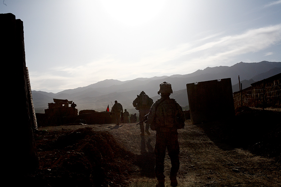 Soldiers with the 2nd Battalion 87th Infantry Regiment Apache Company return to COP Apache after their dismounted patrol through the Jalrez Valley in Wardak, Afghanistan.