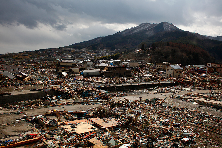 A view of Ofunato, Iwate after the earthquake