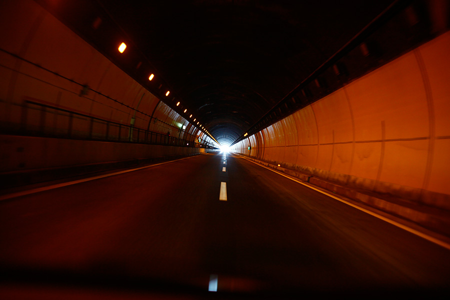A tunnel leading to northern Iwate prefecture, Japan, where effects of the massive earthquake/tsunami was felt.