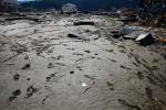 Traces of footprints are visible everywhere in Rikuzentakata, Iwate, Japan.