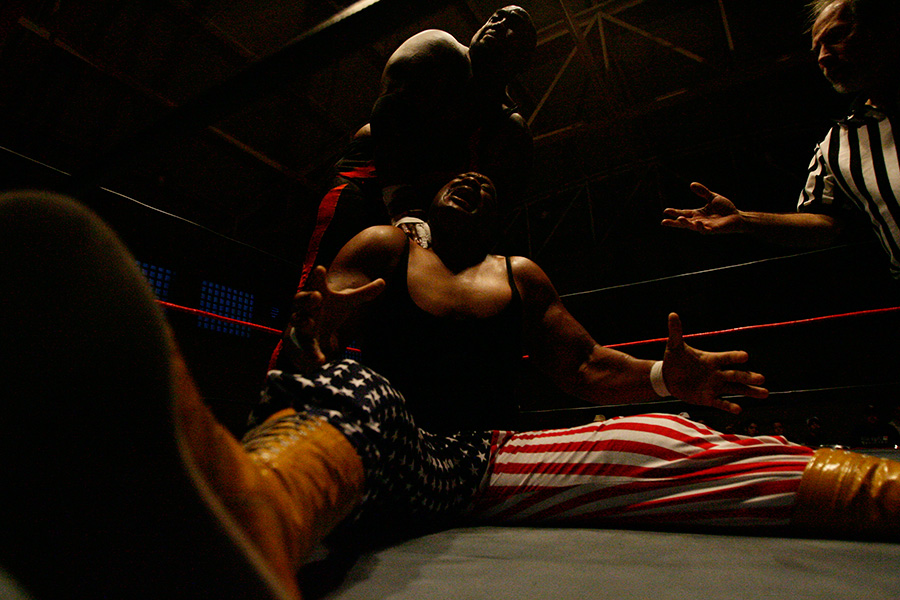 Damballah King of Darkness, top, wrestles Mr. USA Tony Atlas at the Ultimate Championship Wrestling match, {quote}Return of Championship Wrestling{quote} held at Dade City National Guard Armory in Dade City, FL.