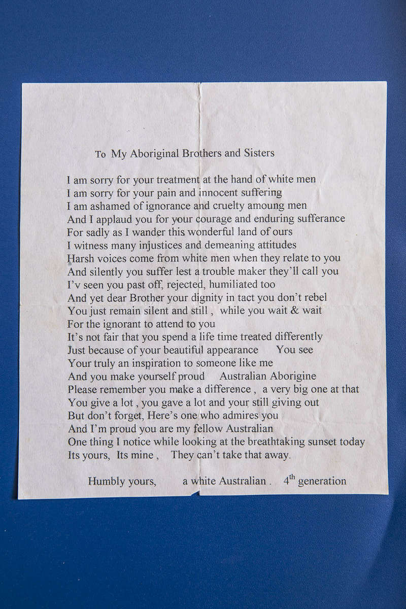A letter written to a member of the Stolen Generation.