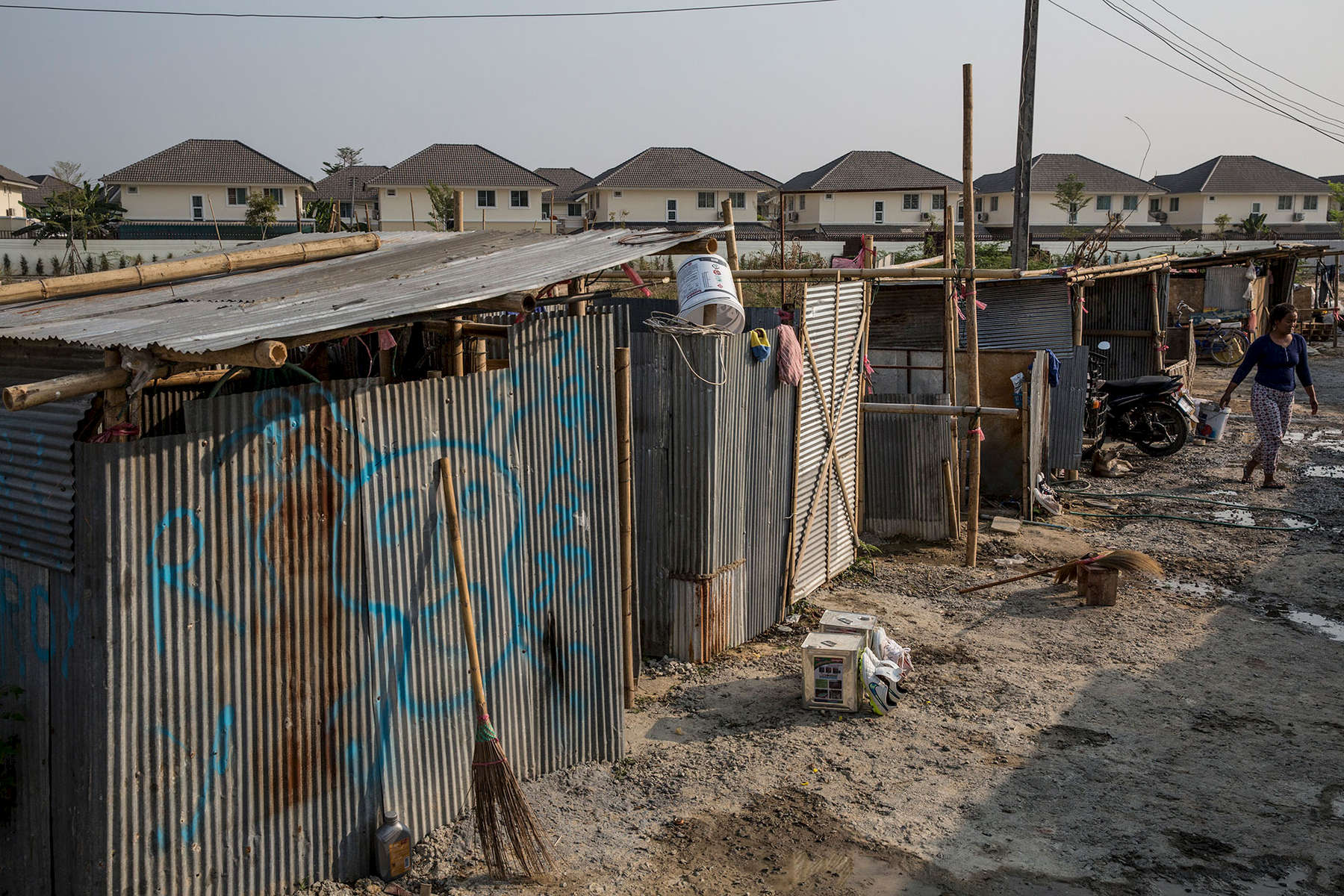 A camp is pictured beside the subdivision where migrants work. When construction is complete, the entire camp often moves to a new location to start another project.