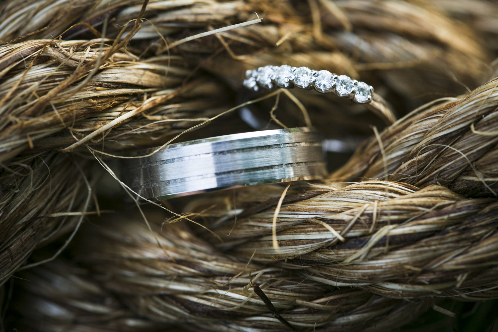 Rustic image of stunning wedding bands.