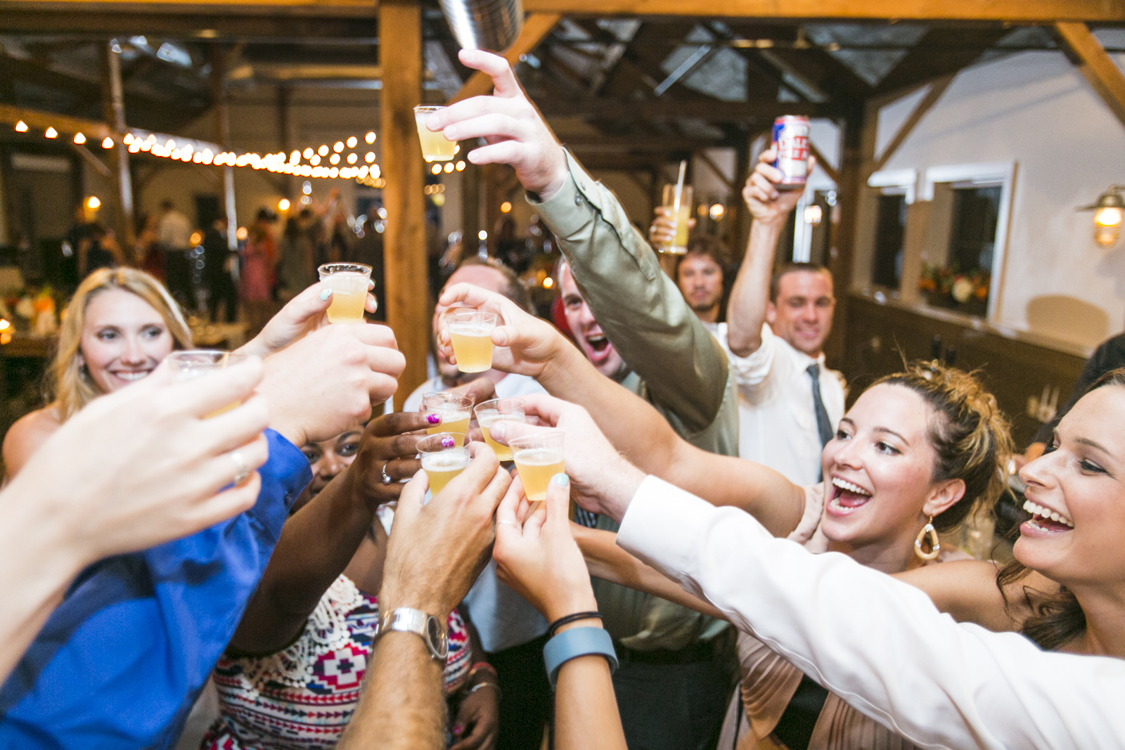 Candid shot of wedding guests toasting to the newlyweds at the Mountain Top Inn in Chittenden Vermont.
