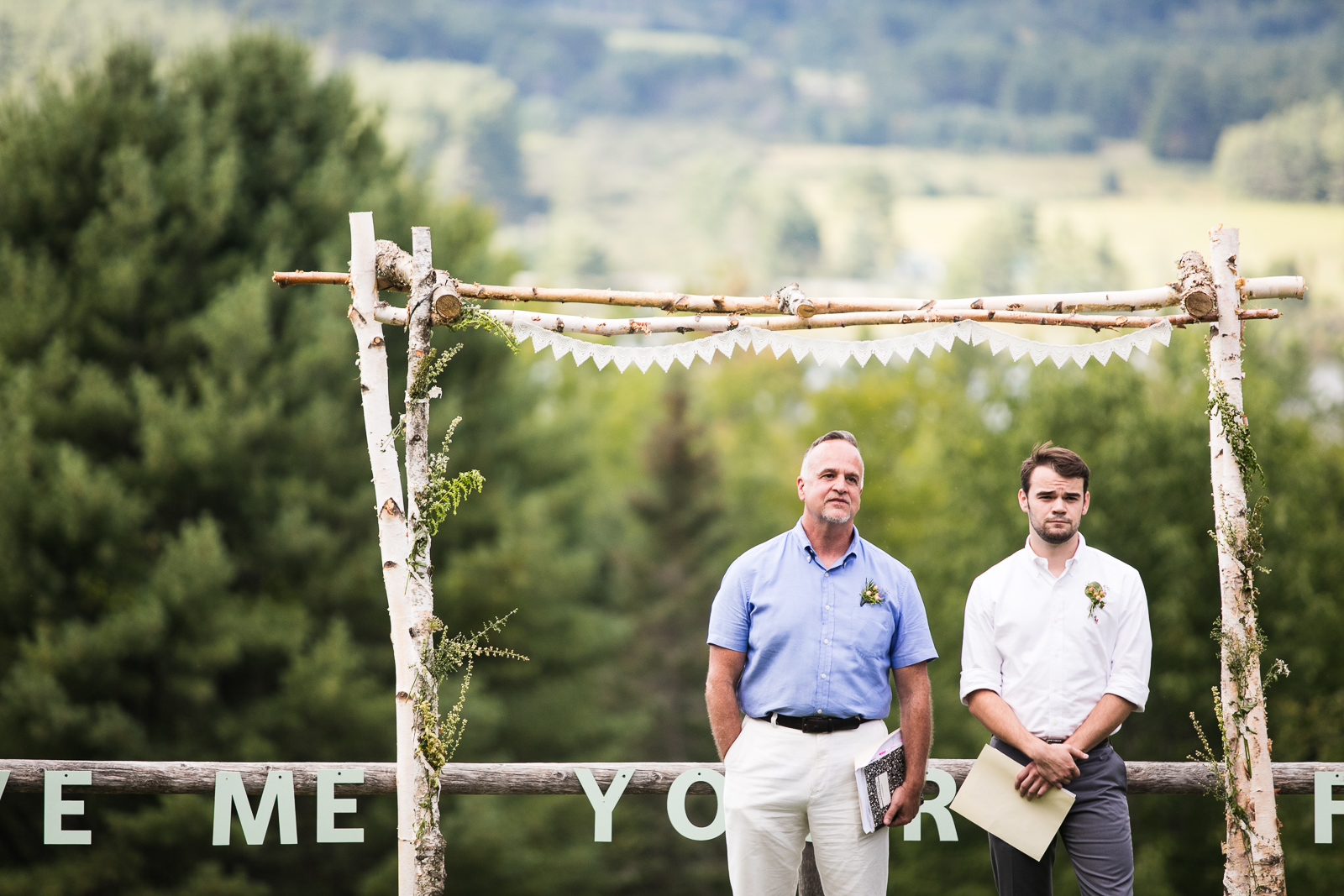 Eve Event photography captures the moment before the bride walks down the aisle at this perfect vermont wedding.