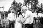 The emotional moment that the father of the bride gives away hes daughter.