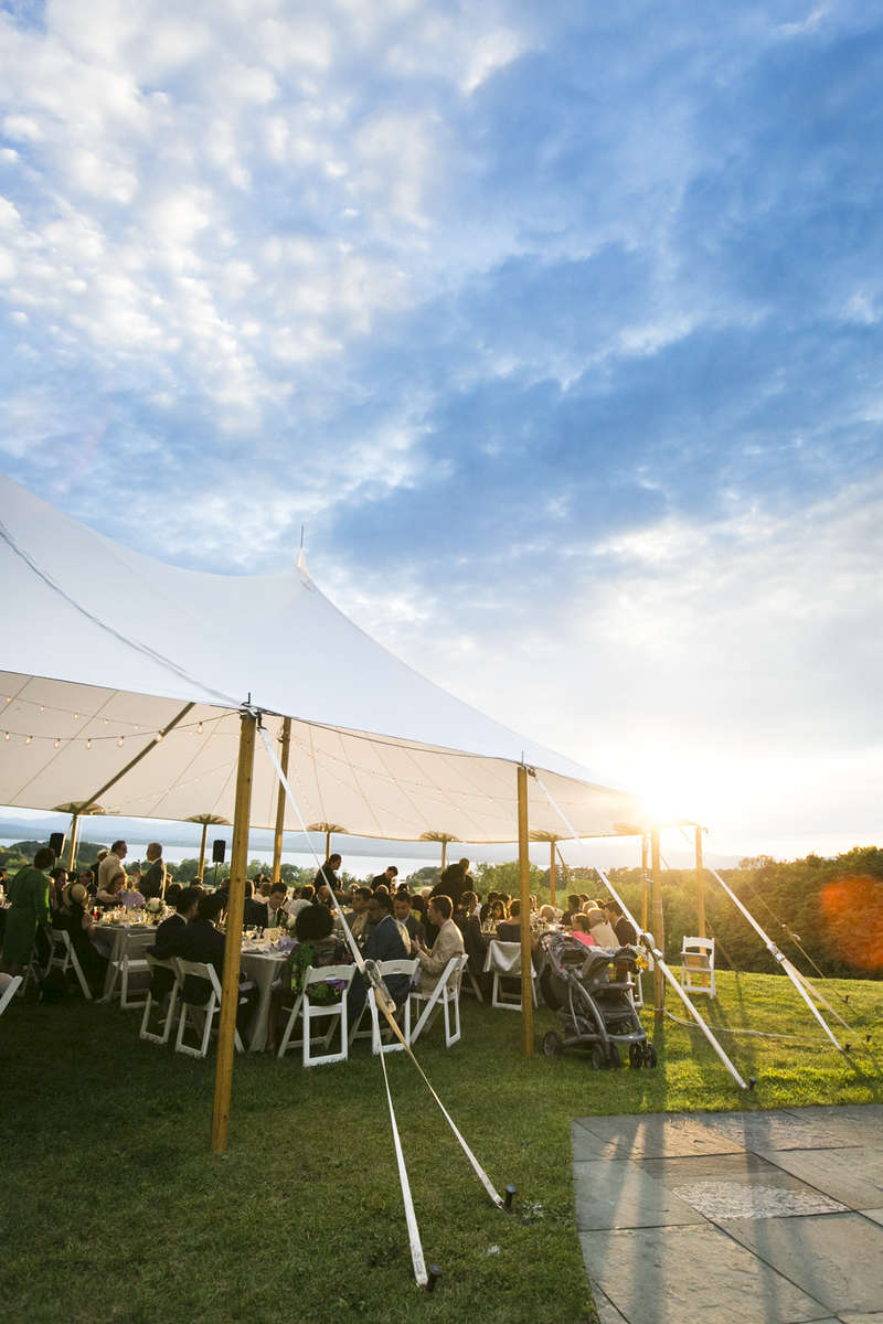 Guests enjoy the beautiful Shelburne Vermont scenery under a beatific blue sky.
