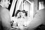 Bride and her sister share a moment during the wedding reception. vermont wedding photographers at white rocks inn in wallingford. by Eve Event Photography