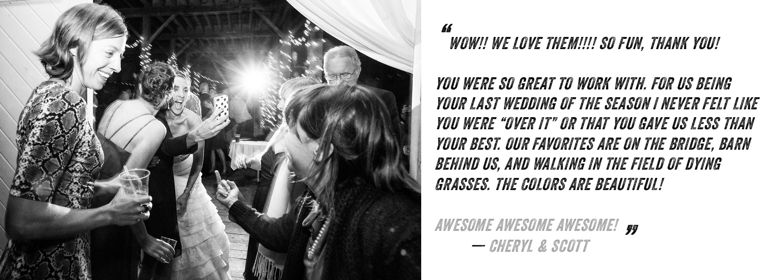 Bride and groom testimonial of their awesome experience with Eve Event Photography.