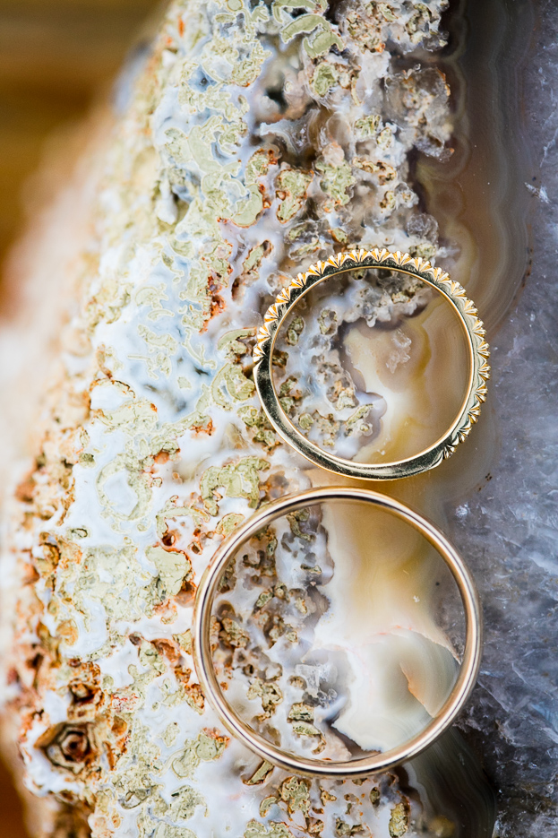 Elegant and unique close up photo of wedding rings.