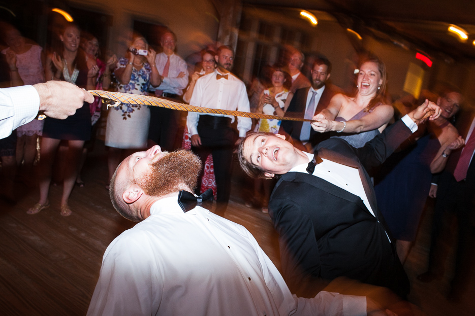 Guests tear up the dance floor with limbo moves.
