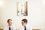 Groom and groomsman at wedding in Rhode Island. by Vermont wedding photographers at Eve Event Photography