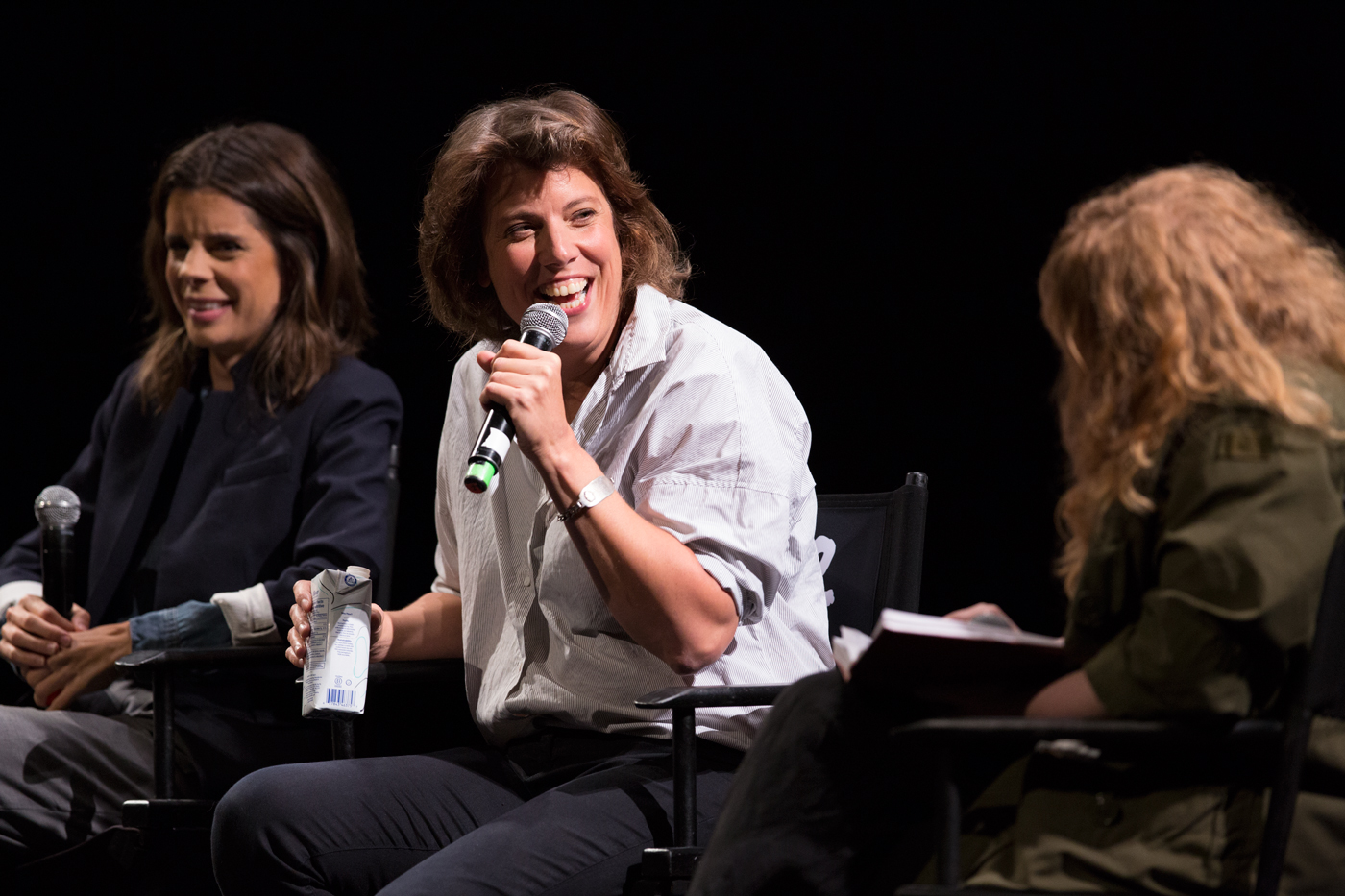 Carolyn Taylor speaking at a Baroness Von Sketch Show panel at the TIFF Bell Lightbox for Just For Laughs 42.