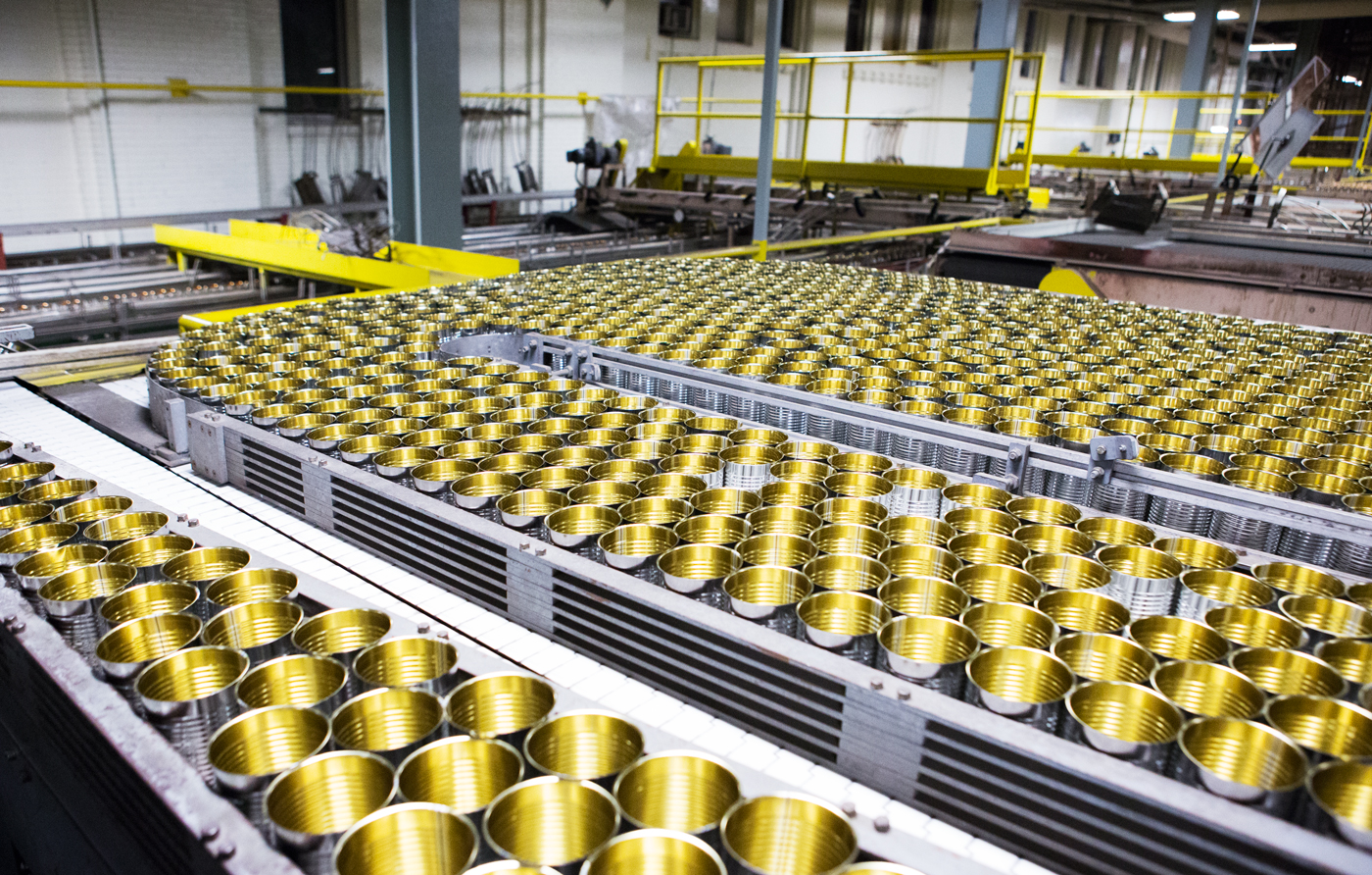 Tomato processing at the Highbury Canco factory in Leamington, Ontario for Canadian Packaging.