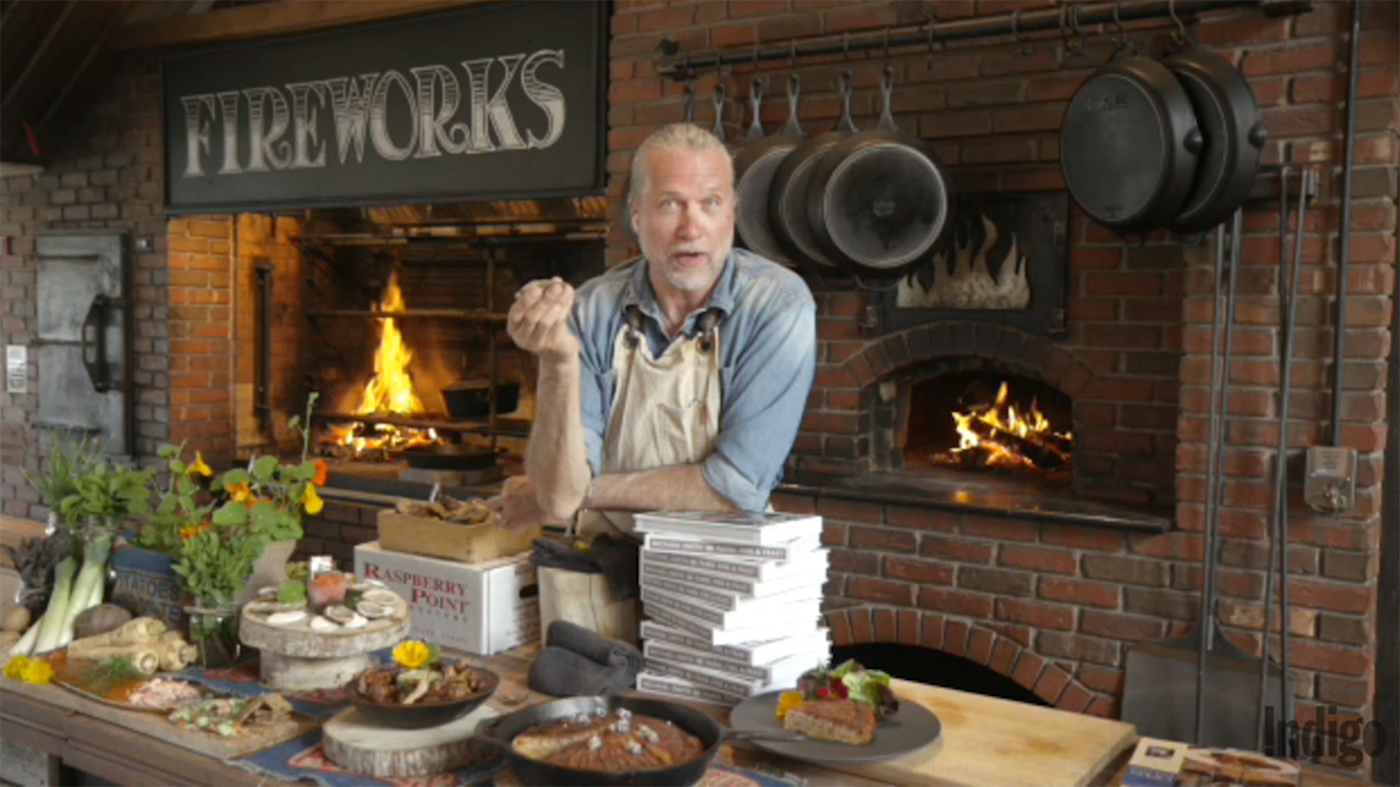 A recorded livestreamed video of Chef Michael Smith discussing his book Farm, Fire & Feast.