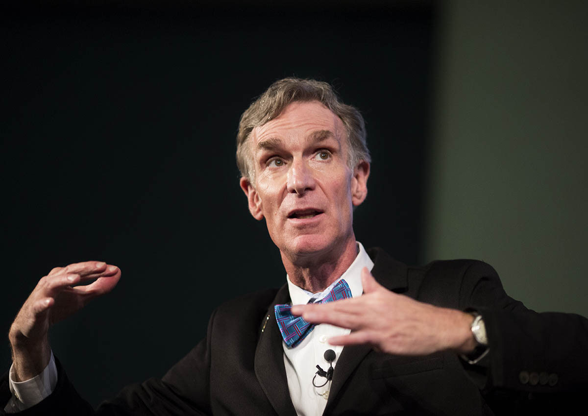 Bill Nye speaking at a sold-out talk at Convocation Hall at University of Toronto.