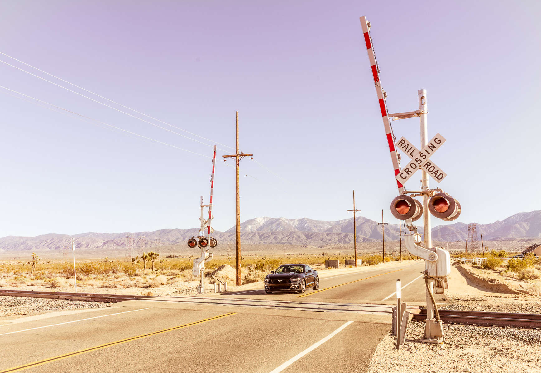 Photograph of 2016 Ford Mustang driving on desert road near rail road crossing signs  photographed by Red Cup Studio