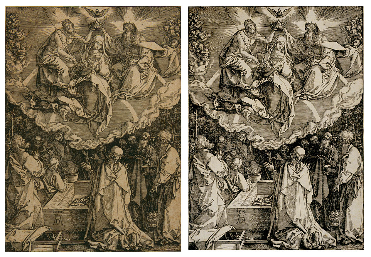 Albrecht Dürer (1471-1528)Woodcut on laid paper, 11 7/16{quote} x 8 1/8{quote}Before and after treatment images showing considerable reduction of discoloration through light bleaching