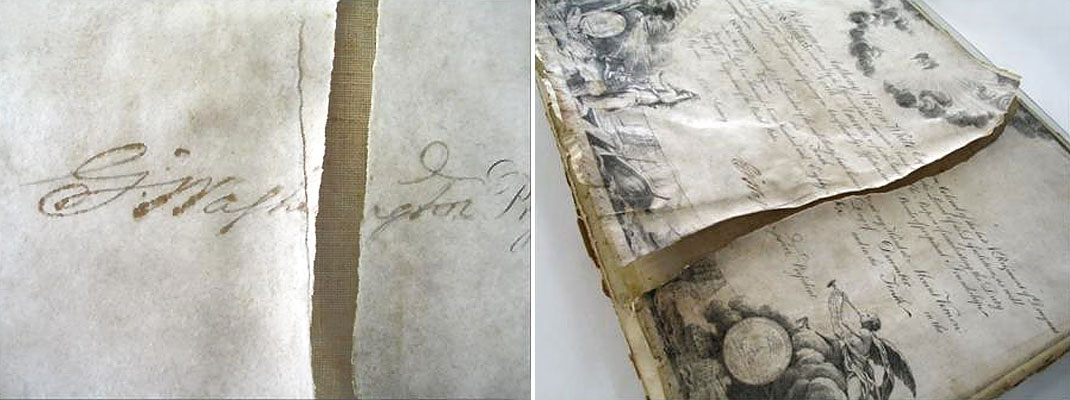 Pierre L'Enfant, J.J. Le Veau, and R. ScotEngraving and pen & ink on parchment, 14 1/4{quote} x 19 3/8{quote}, signed by Henry Knox and George WashingtonBefore treatment showing damages.  The torn parchment was lined to a stretched canvas.  Over time, portions of the parchment detached and lifted from the canvas.