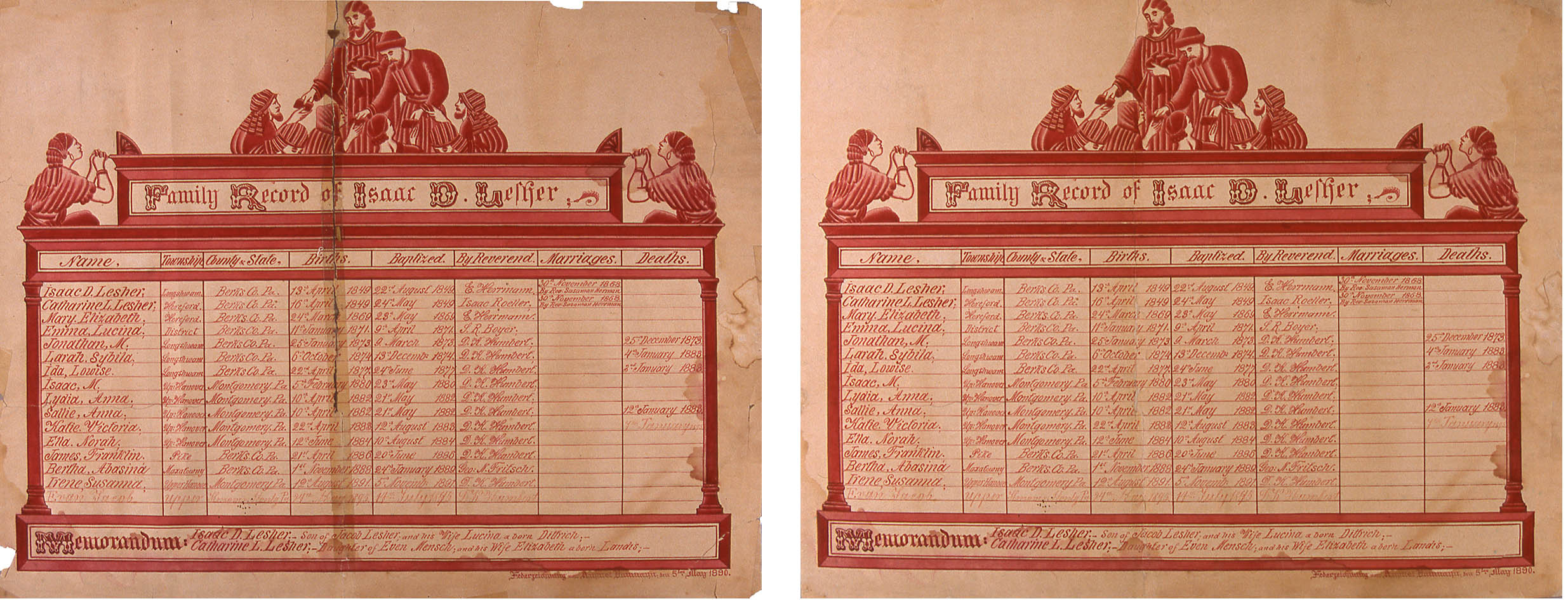 Red inks and watercolor on wove paper, 15{quote} x 18{quote}Before and after treatment--pressure sensitive tapes were removed from the document.  Staining was reduced to the extent possible locally on a suction platen.  The solubility of the inks and watercolors limited the amount of stain reduction.