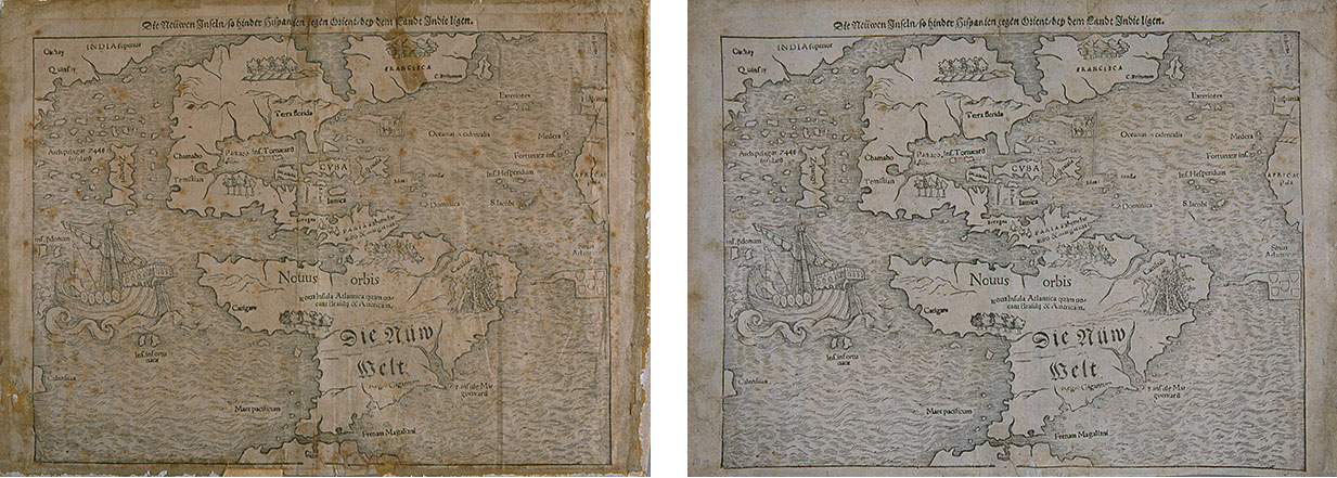 Printing inks on laid paper, 10{quote} x 14{quote}Before and after treatment. Treatment focused on removing the map from its cardboard backing, removing darkened and discolored pressure-sensitive tapes, and reducing the severe overall discoloration to the extent possible.  The discoloration was reduced dramatically by light bleaching.