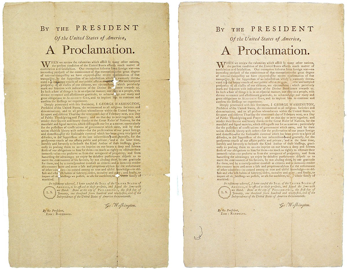George Washington's {quote}Thanksgiving Day Proclamation{quote}, 1795Letterpress on laid paper, 13 3/4{quote} x 8 3/8{quote}Before and after Treatment