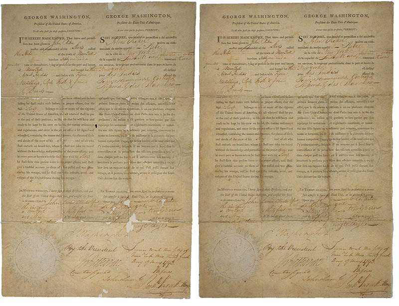Signed by George Washington & Thomas Jefferson, Letterpress and pen & ink on laid paper, 14{quote} x 9{quote}Before and after treatment