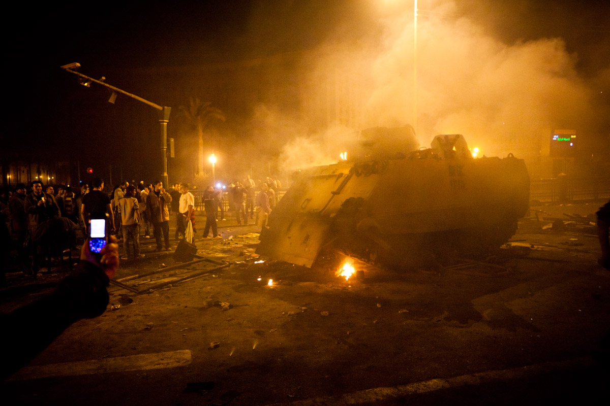 An armoured personnel carrier burns in Cairo, Egypt, January 28th, 2011. Protestors bombarded the APC with burning refuse until the crew abandoned the vehicle and ran off. No casualities resulted.