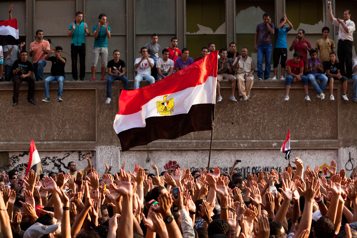 Protestors gather on a side street outside Tahrir Square during a massive demonstration against the SCAF to demand expedited elections. The elections continue to be delayed despite many promises by the authorities.