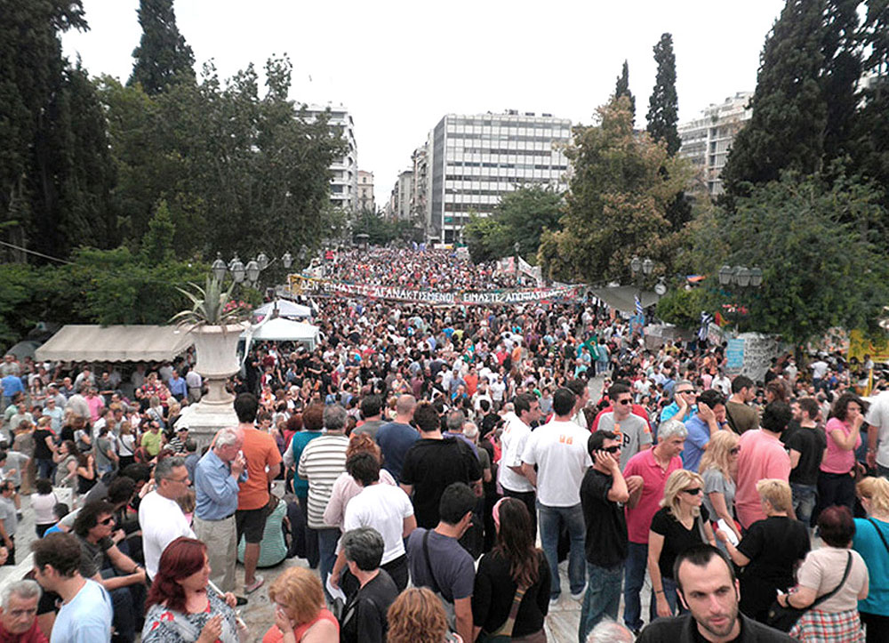 Greeks of all ages and from all walks of life gather in Syntagma Square.