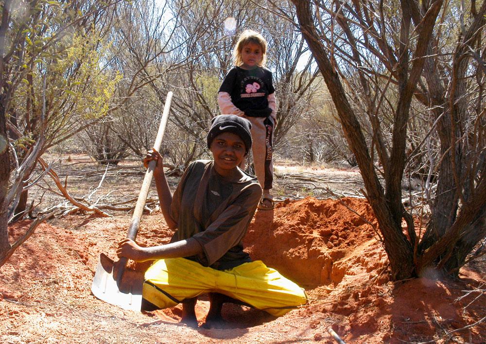 Katie Digging For Honey Ants